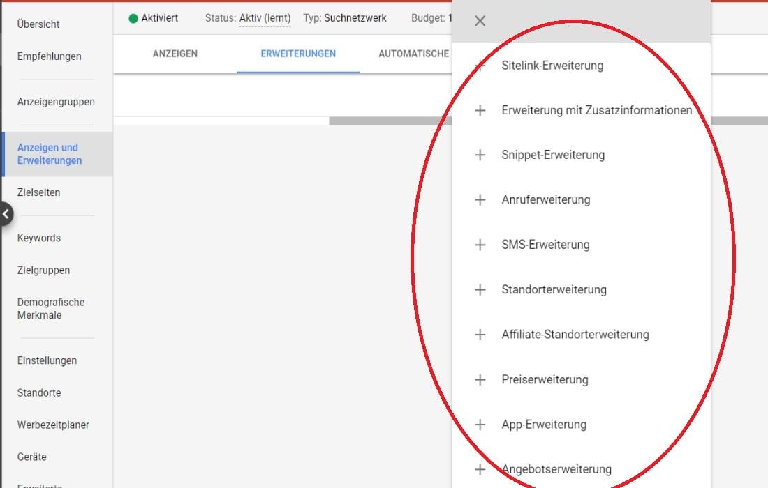 Google Ads Anzeigenerweiterungen